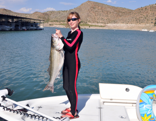 Striper Fishing with Gidget Moon Miller of Rio Grande Guide Service